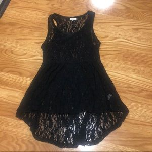 Hi-low sheer black lace peplum tank top kohl's